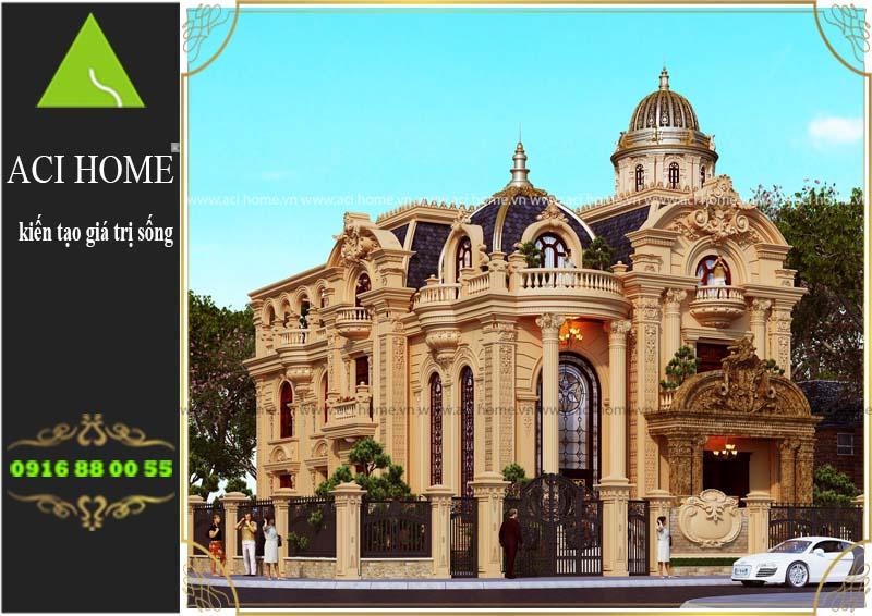 Thiết kế biệt thự cổ điển 3 tầng 1 tum với dt sàn 180 m2 - lô đất 242 m2