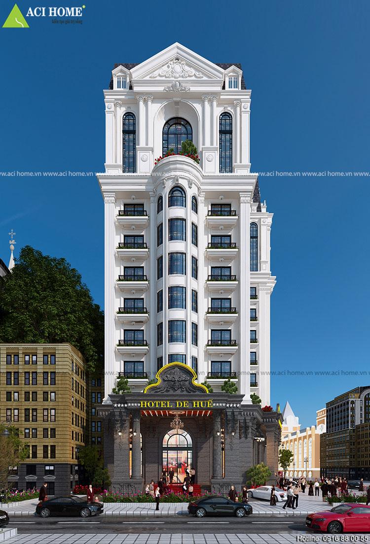 Thiết kế khách sạn kiểu Pháp 15m mặt tiền đẳng cấp 4 sao tại TP Huế