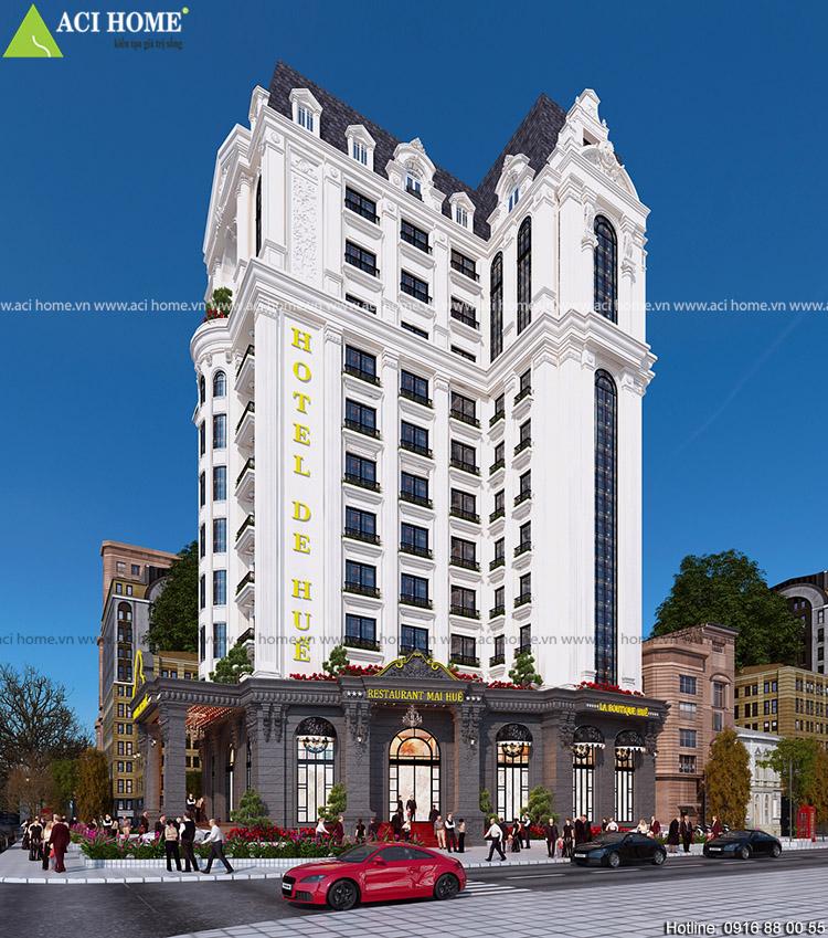 Thiết kế khách sạn kiểu Pháp 4 sao với 15 m mặt tiền