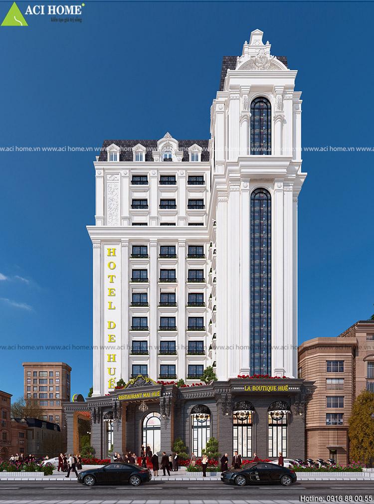 Thiết kế khách sạn kiểu Pháp 15 m mặt tiền