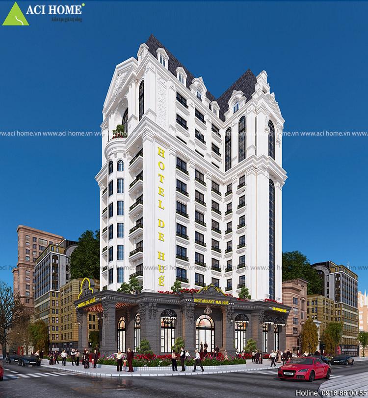 Thiết kế khách sạn kiểu Pháp tại Huế - 15 m mặt tiền