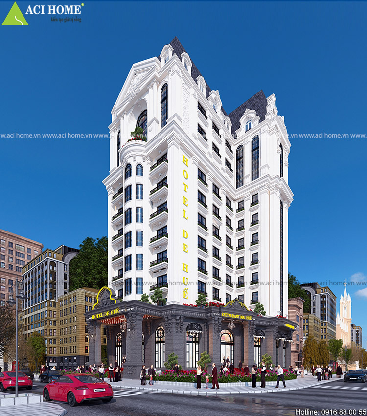 Thiết kế khách sạn 4 sao-15m mặt tiền kiểu Pháp sang trọng tại Huế